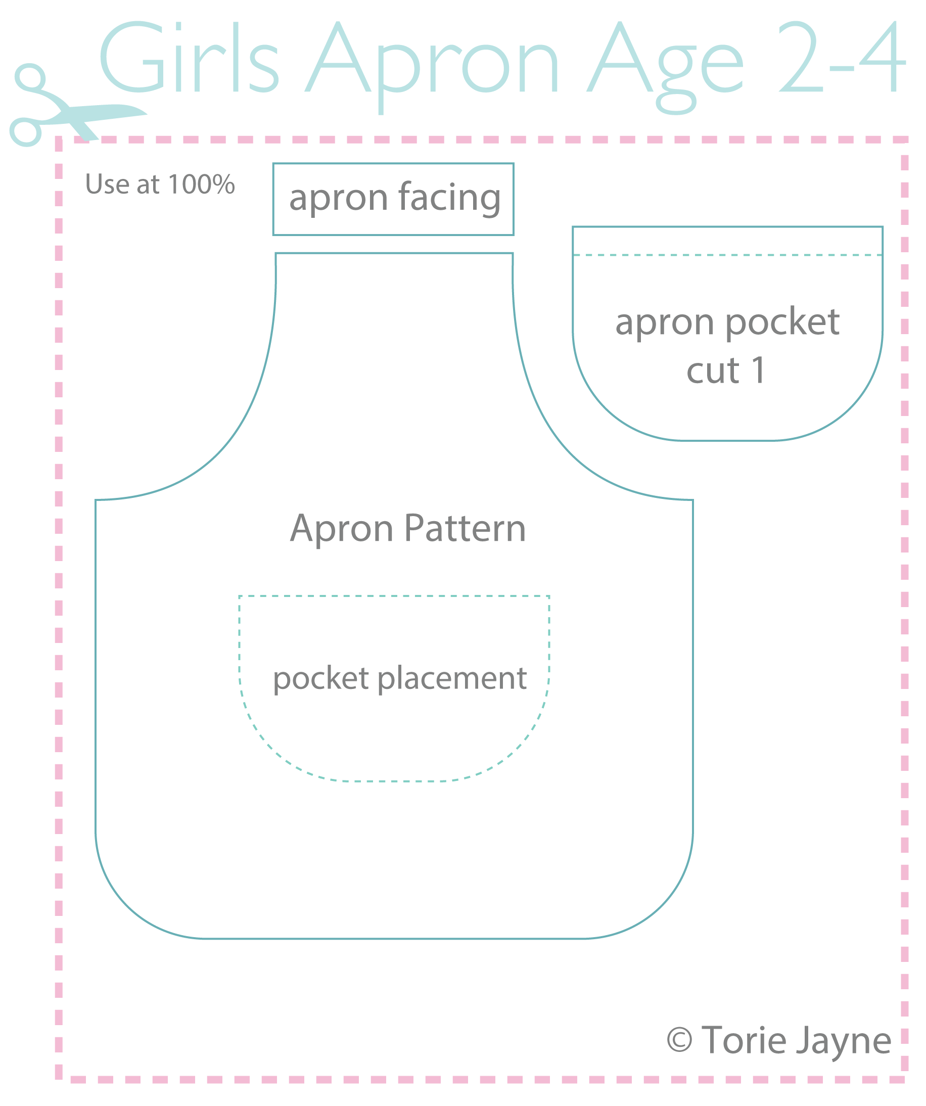 Girls Apron Pattern Age 2-4