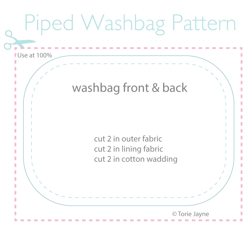 Piped Wash Bag Pattern