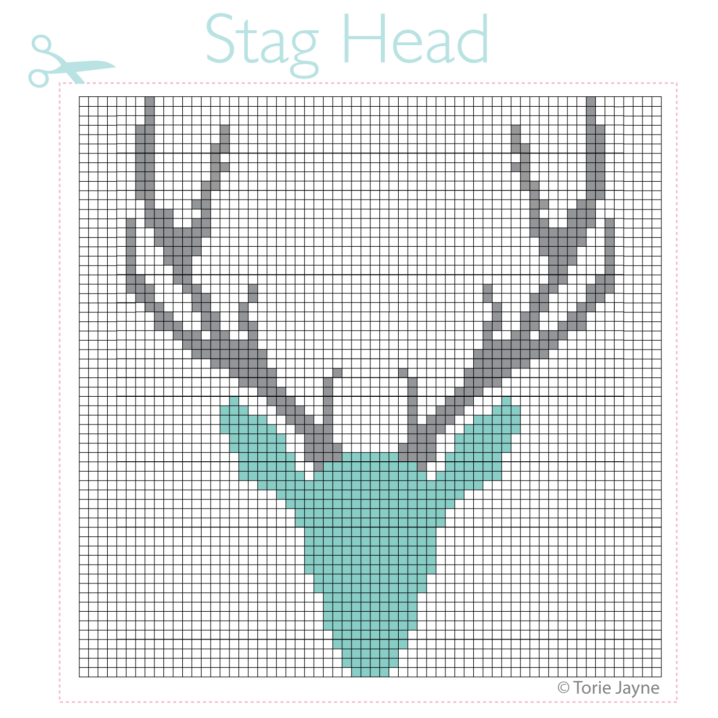 Stag head cross stitch pattern